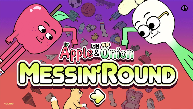 Apple & Onion Messin' Around Game Welcome Screen Screenshot.