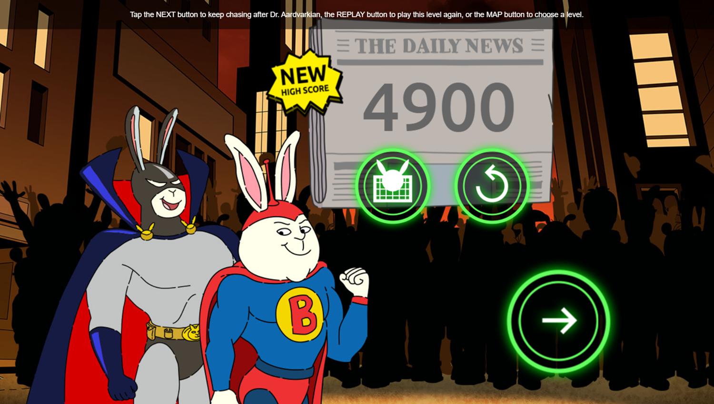 Arthur Dark Bunny Needs Your Help Game Stage Complete Screenshot.
