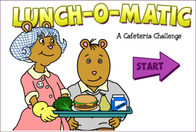 Arthur Lunch O Matic Game Welcome Screen Screenshot.