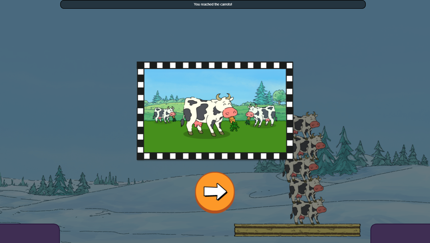 Arthur Tower of Cows Game Move Level Complete Screenshot.
