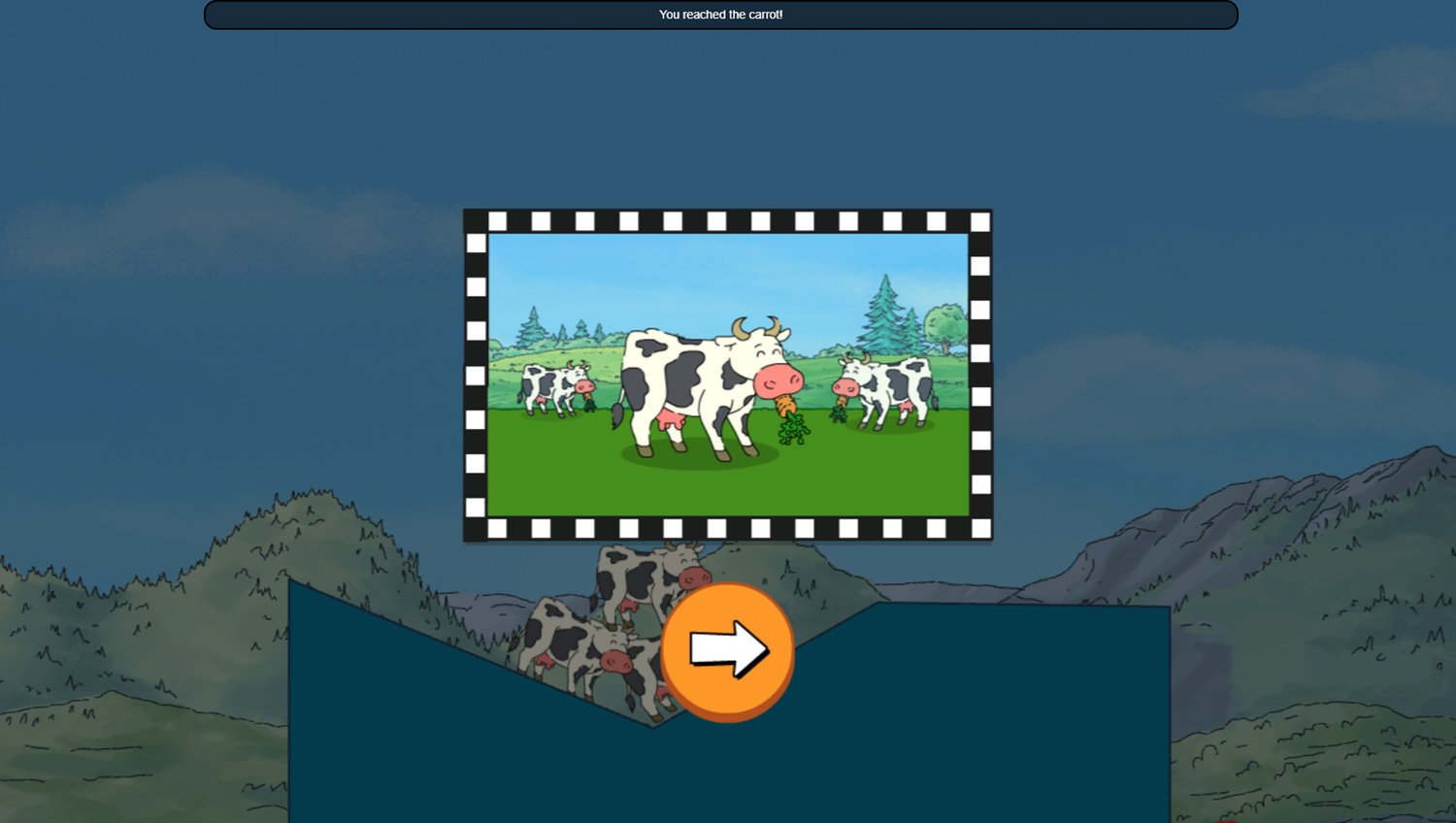 Arthur Tower of Cows Game Pile Level Complete Screenshot.