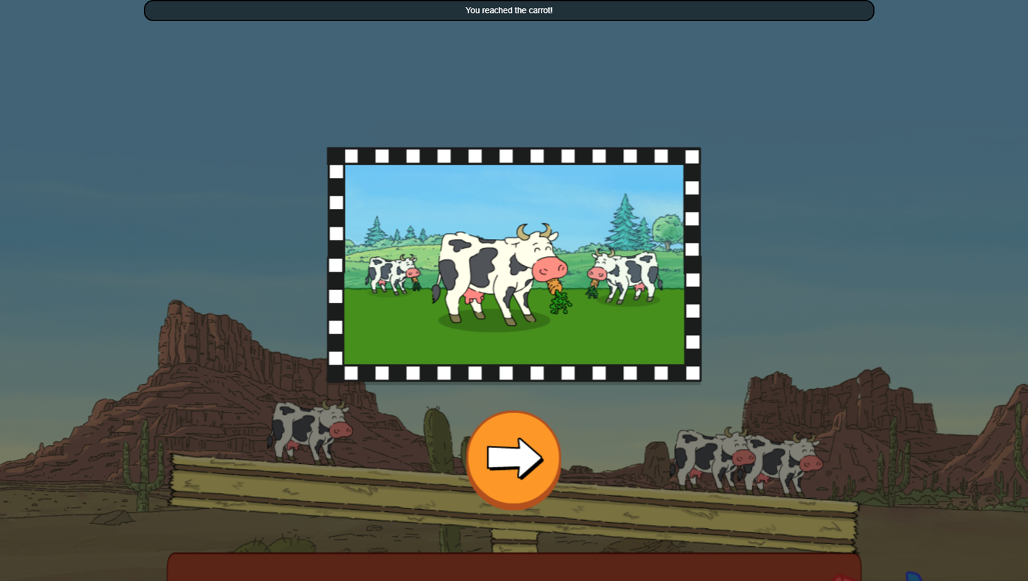 Arthur Tower of Cows Game Tip Level Complete Screenshot.