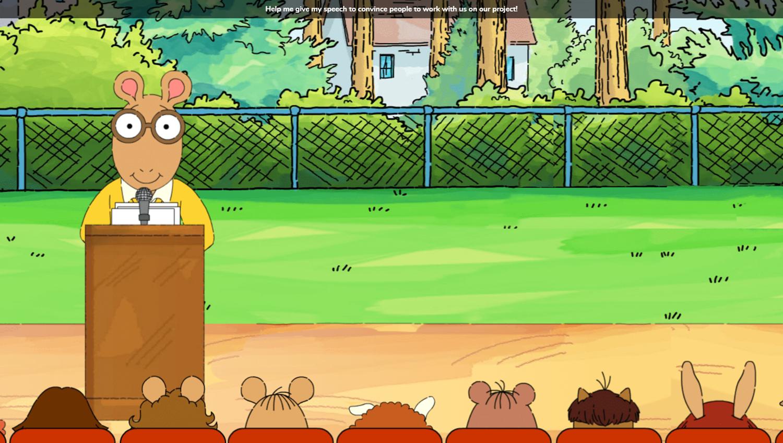 Arthur's Park Game Speech Start Screenshot.