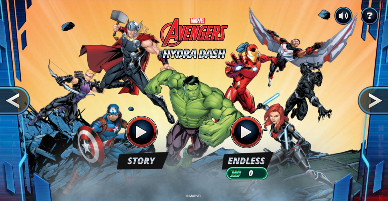 Marvel Avengers Hydra Dash Game Welcome Screen Screenshot.