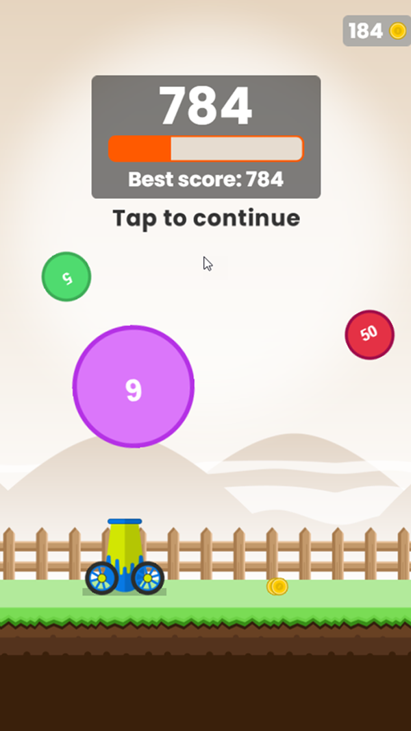 Ball Blaster Game Best Score Screenshot.