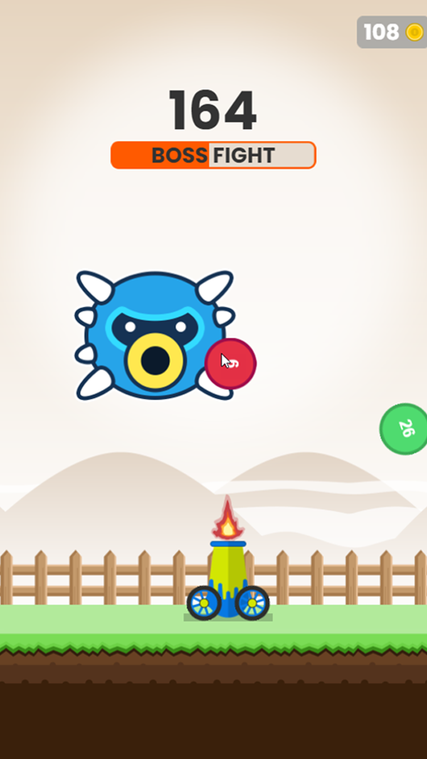 Ball Blaster Game Boss Fight Screenshot.