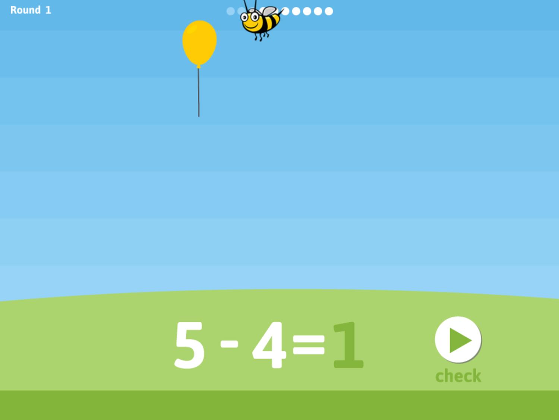 Balloon Pop Subtraction Game Answer Screenshot.
