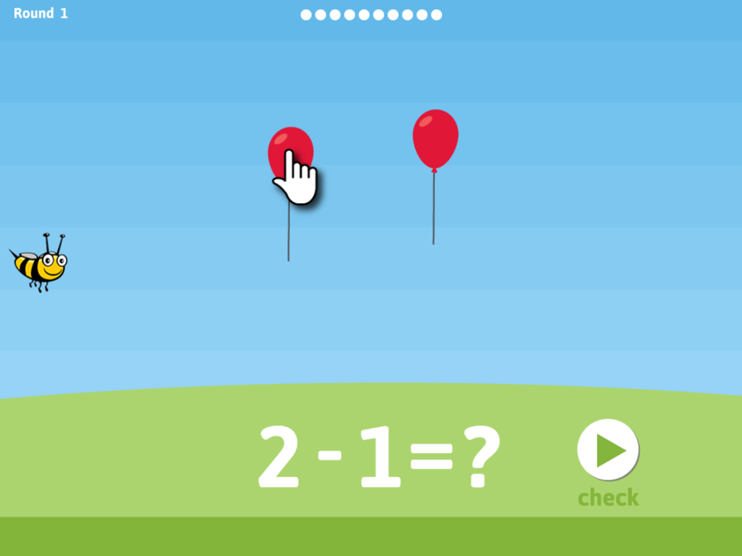 Balloon Pop Subtraction Game How To Play Screenshot.