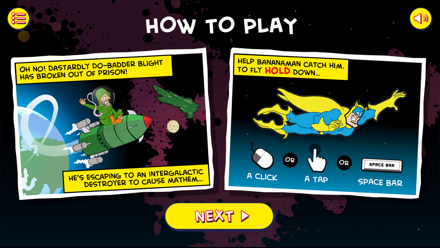 Bananaman Chase in Space Game How To Play Screenshot.
