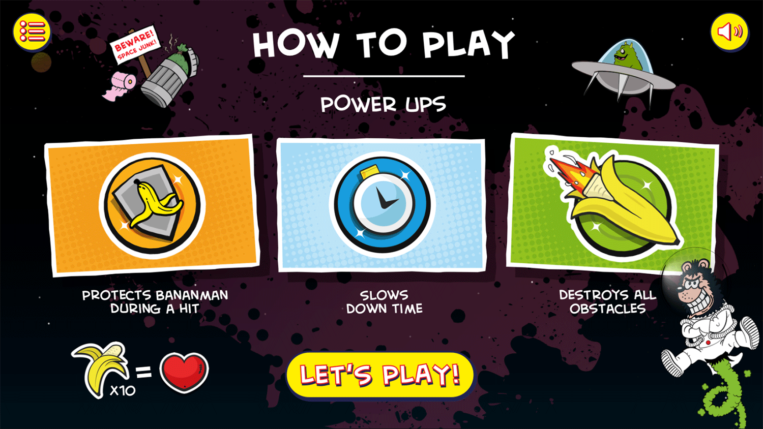 Bananaman Chase in Space Game Instructions Screenshot.