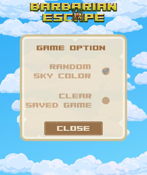 Barbarian Escape Game Options Screenshot.