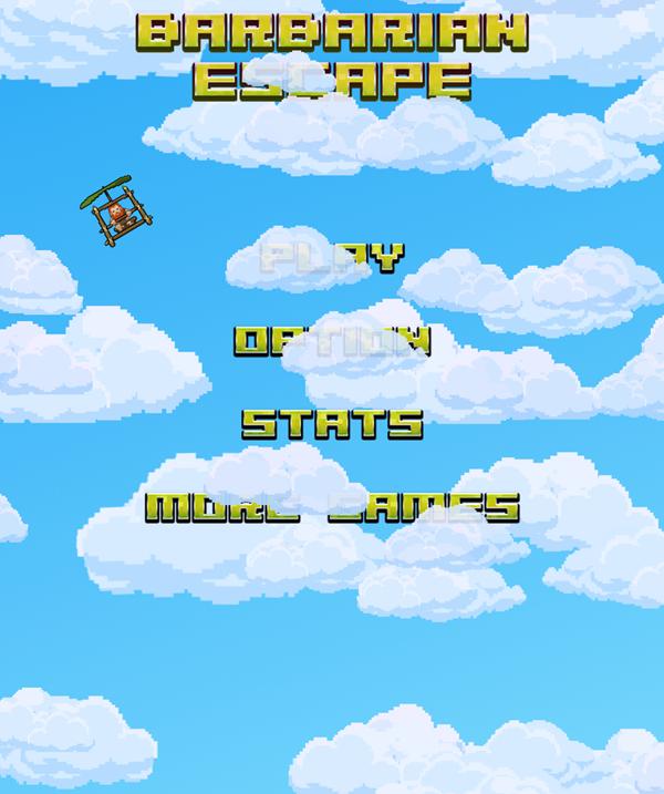 Barbarian Escape Game Menu Screenshot.