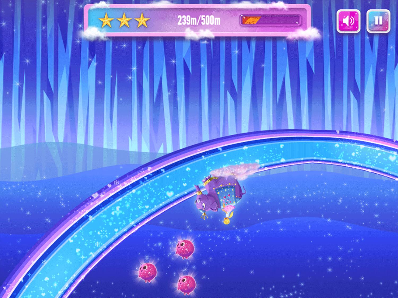 Barbie Dreamtopia Sparkle Mountain Royal Ride Game Screenshot.