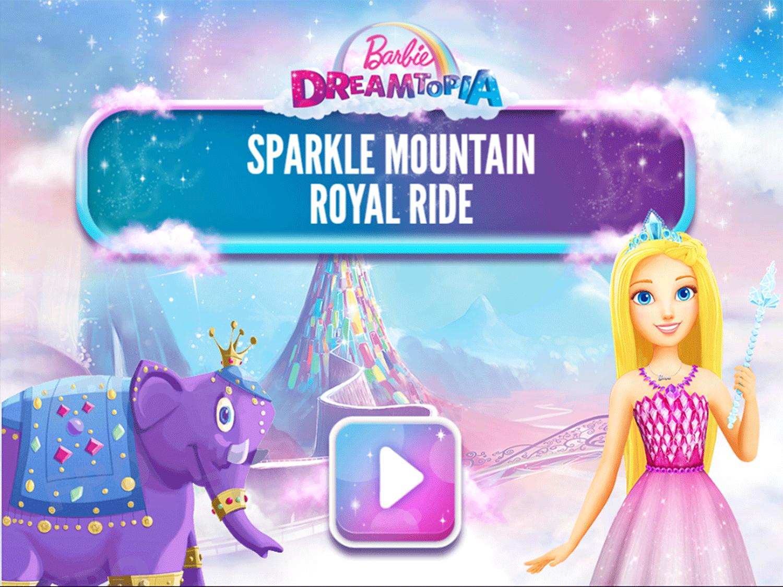 Barbie Dreamtopia Sparkle Mountain Royal Ride Game Welcome Screen Screenshot.