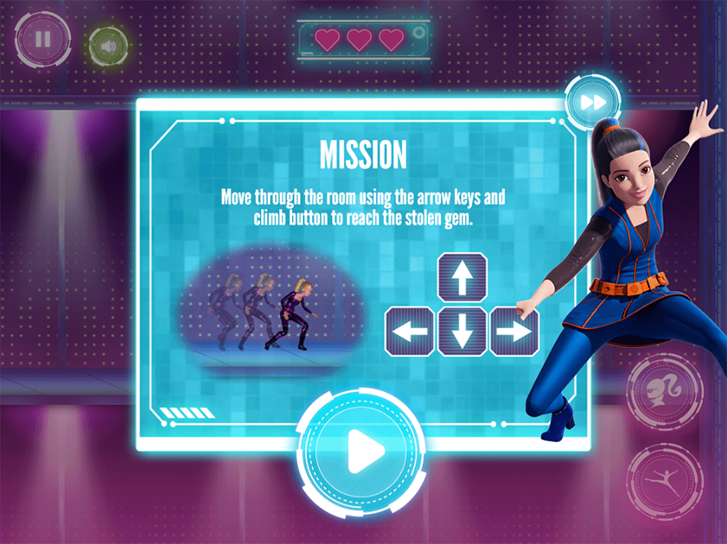 Barbie Spy Squad Academy Game Laser Sneaking How To Play Screenshot.