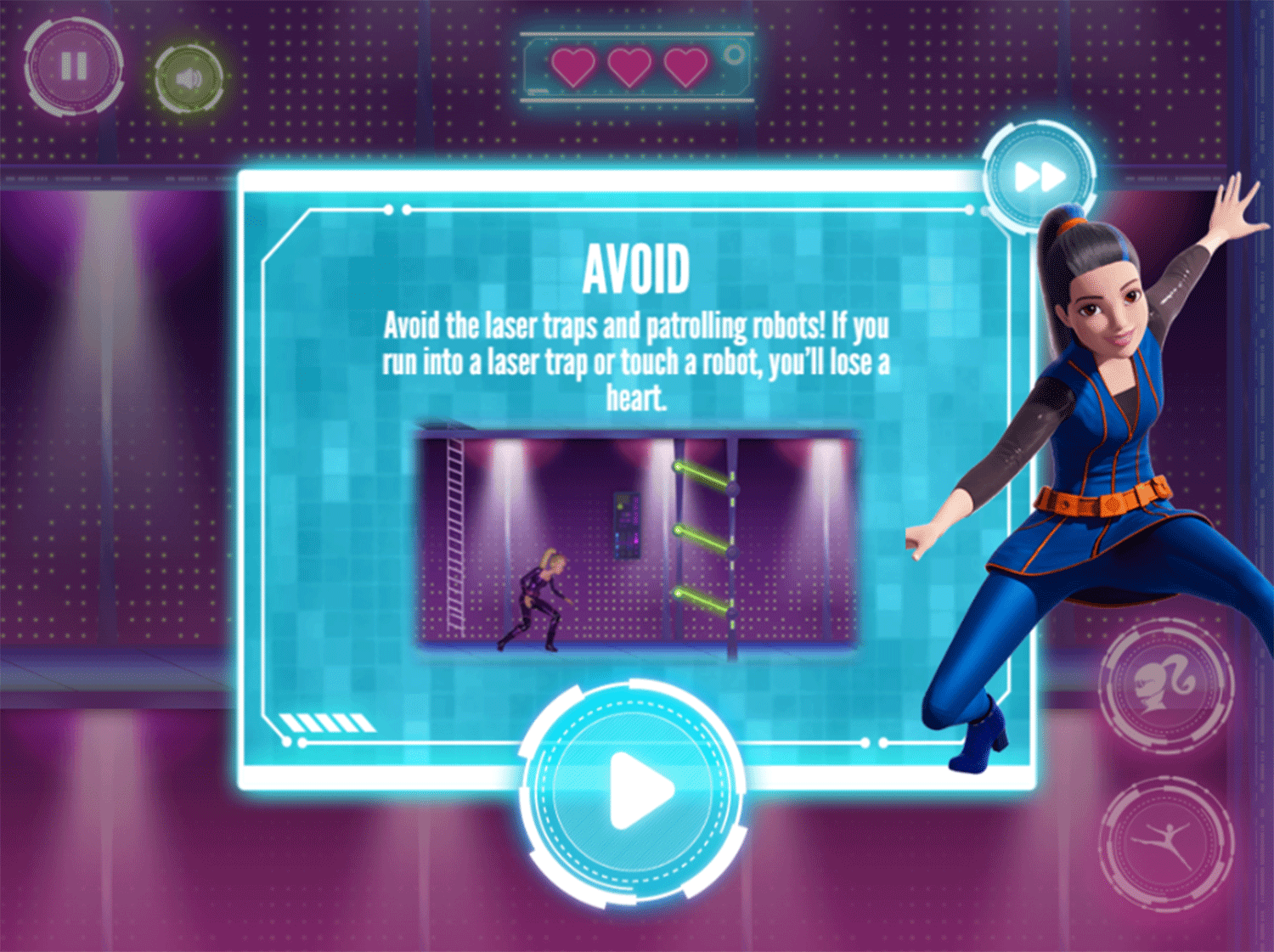 Barbie Spy Squad Academy Game Laser Sneaking Instructions Screenshot.