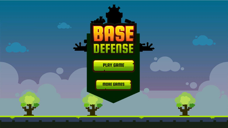 Base Defense Game Welcome Screen Screenshot.