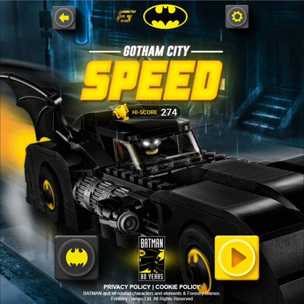 Batman Gotham City Speed Welcome Screen Screenshot.