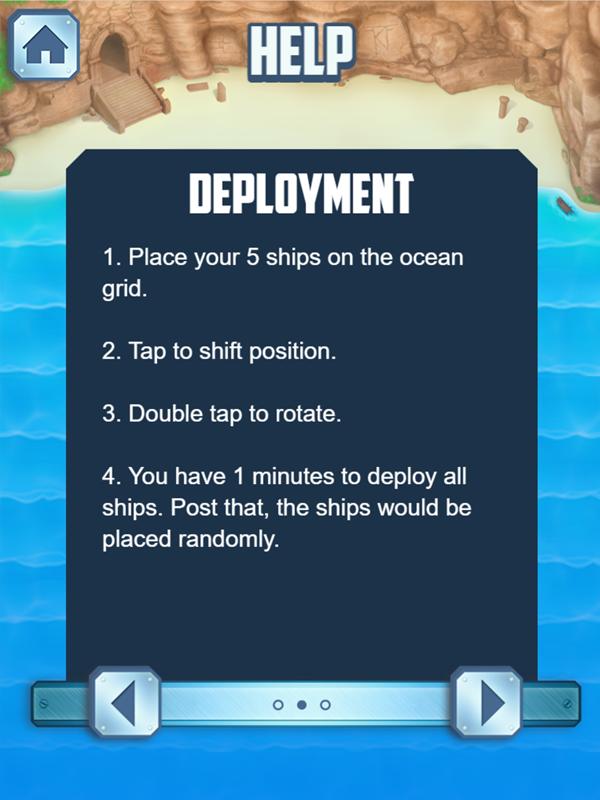 Battleships Armada Ship Deployment Instructions Screenshot.