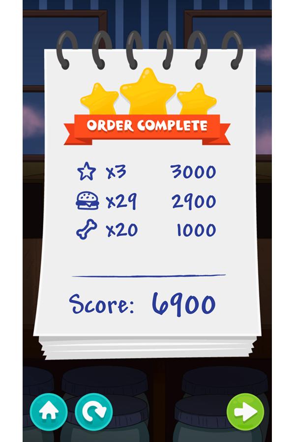 Be Cool Scooby Doo Sandwich Tower Game Level Score Screenshot.