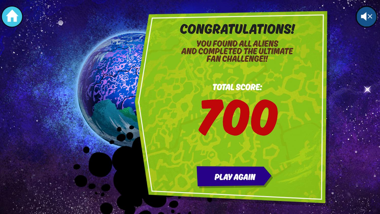 Ben 10 Alien Catcher Game Over Screenshot.