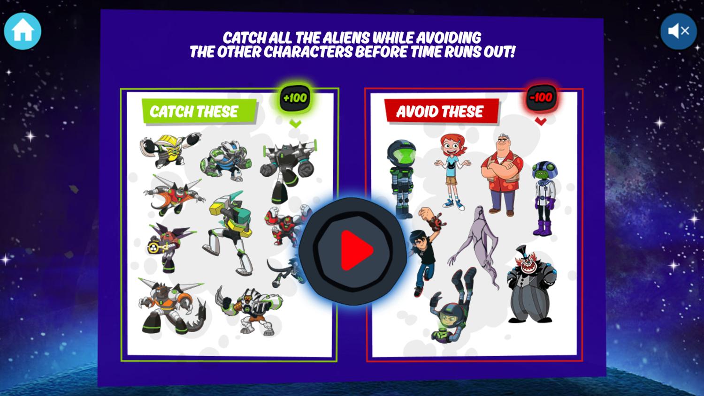 Ben 10 Alien Catcher Game How To Play Screenshot.