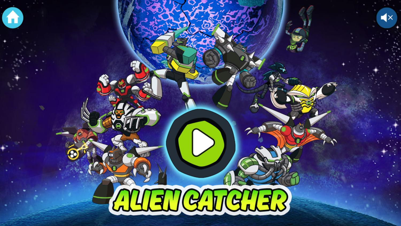 Ben 10 Alien Catcher Game Welcome Screen Screenshot.