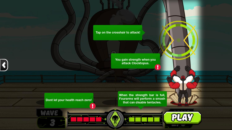 Ben 10 No Arm Done Game Instruction Screenshot.