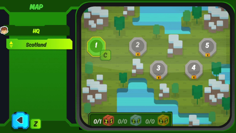 Ben 10 Omnitrix Shadow Game Map Select Screenshot.