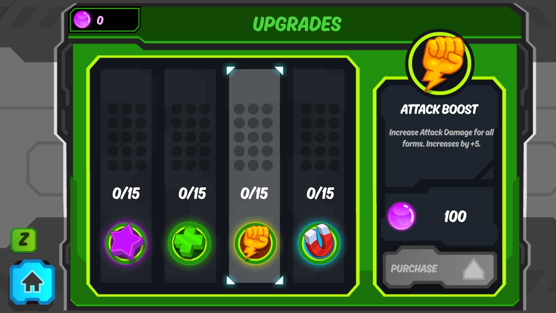 Ben 10 Omnitrix Shadow Game Upgrade Select Screenshot.