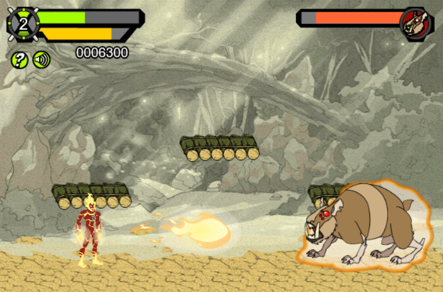 Ben 10 Race Against Time Savage Pursuit Game Boss Fight Screenshot.