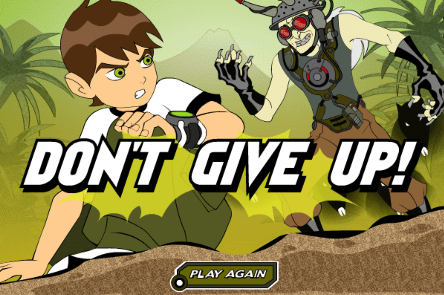 Ben 10 Race Against Time Savage Pursuit Game Over Screenshot.