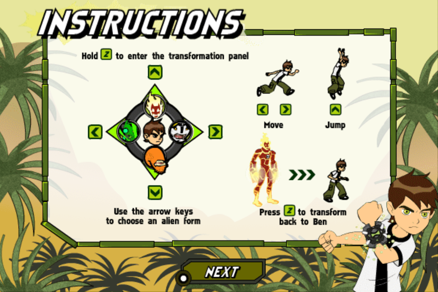 Ben 10 Race Against Time Savage Pursuit Game Instructions Screenshot.