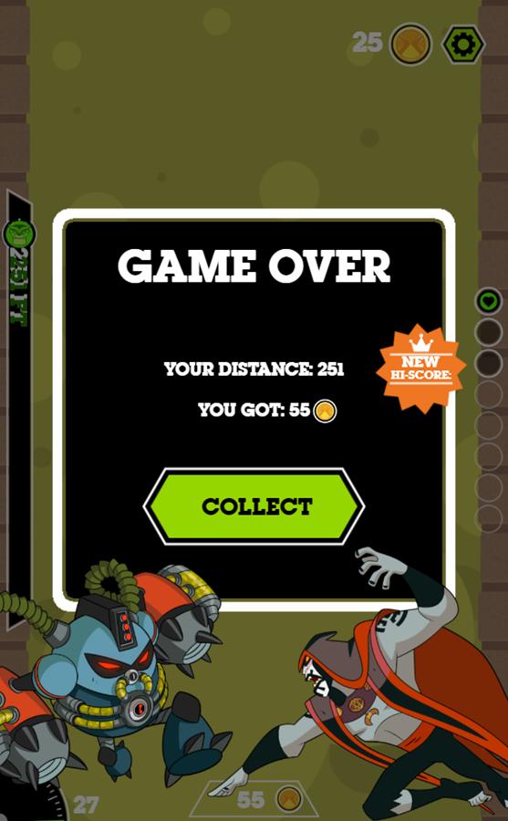 Ben 10 Tomb of Doom Game Over Screenshot.