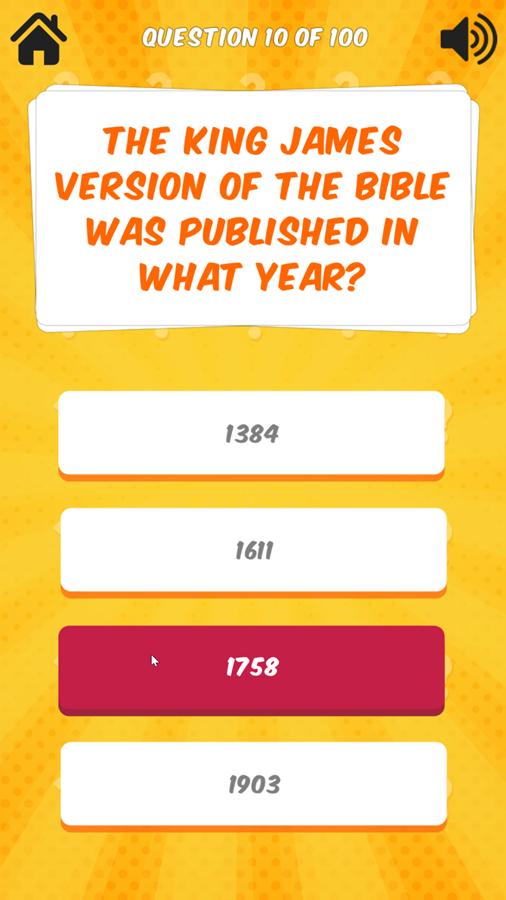 Bible Quiz Incorrect Answer Screenshot.