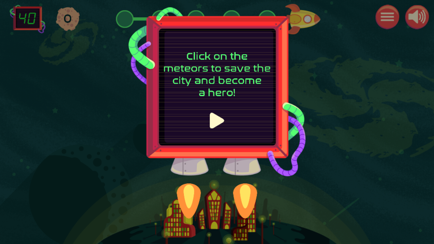 Blast Off Numerical Order Game Click Meteors How To Play Screenshot.