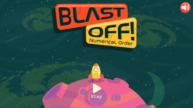 Blast Off Numerical Order Game Welcome Screen Screenshot.