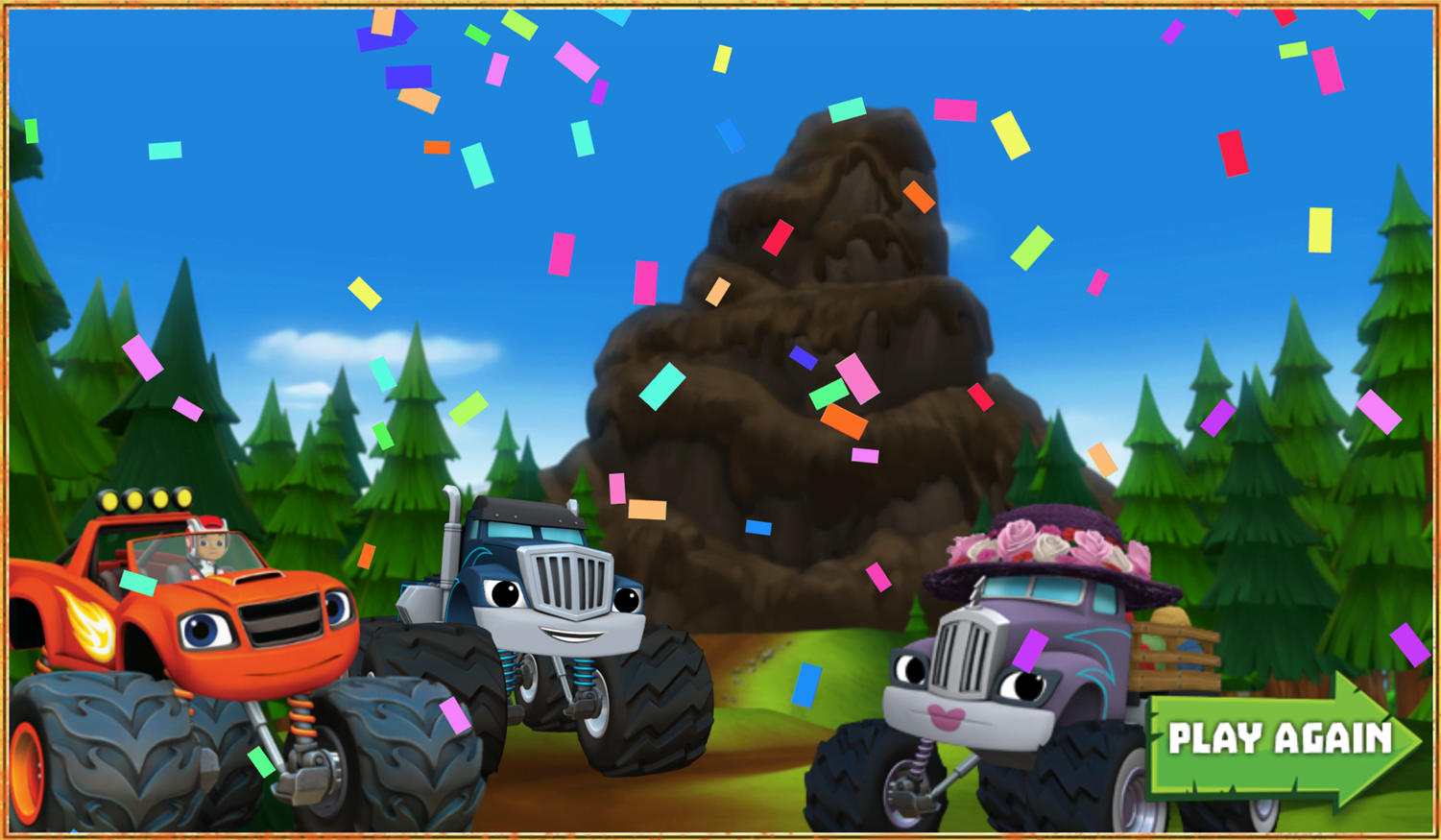 Blaze and the Monster Machines Mud Mountain Rescue Game Over Screenshot.