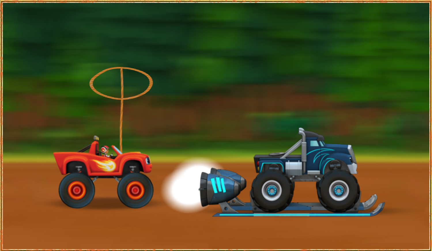 Blaze and the Monster Machines Mud Mountain Rescue Truck Wrangling Game Screenshot.