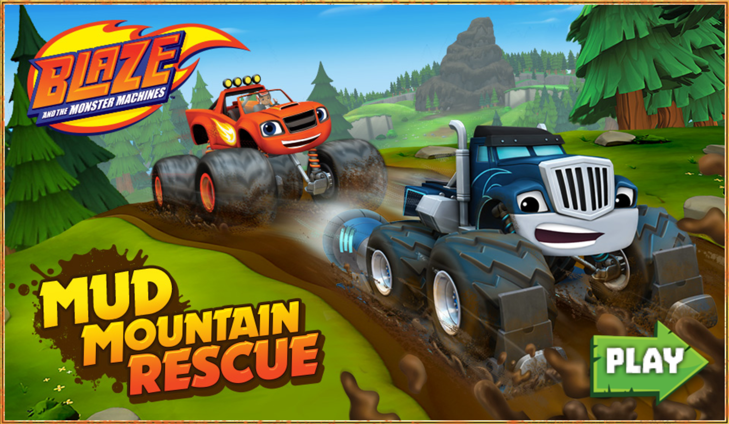 Blaze and the Monster Machines Mud Mountain Rescue Game Welcome Screen Screenshot.