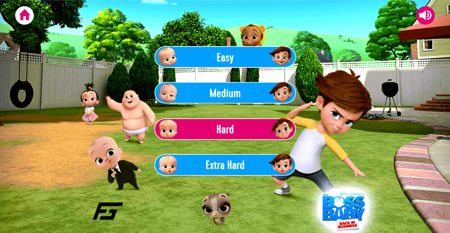 Boss Baby Matching Pairs Game Difficulty Select Screenshot.