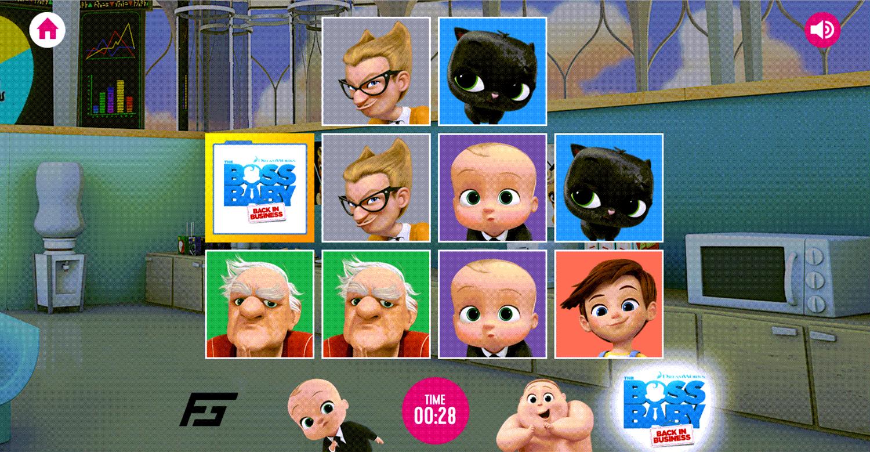 Boss Baby Matching Pairs Game Screenshot.