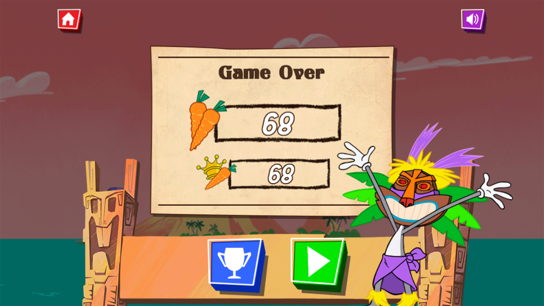 Bugs Bunny Fearless Flier Game Over Screenshot.