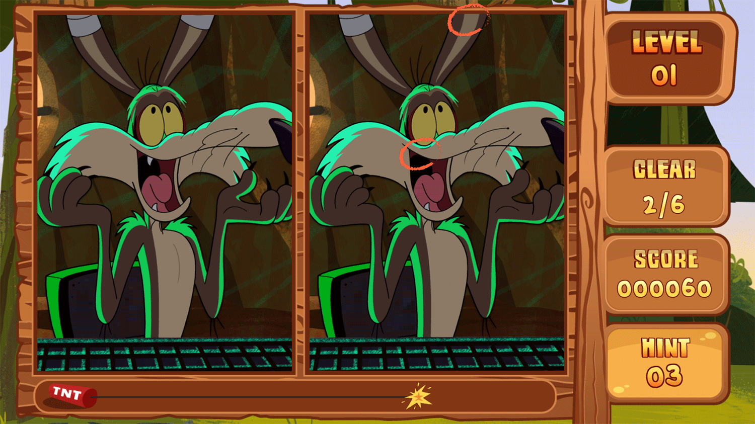 Bugs Bunny Spot the Difference Game Screenshot.