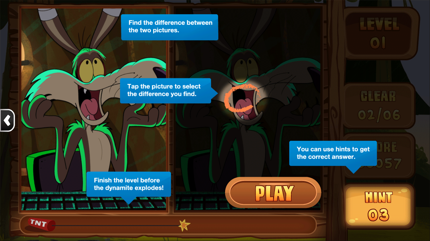 Bugs Bunny Spot the Difference How To Play Screenshot.