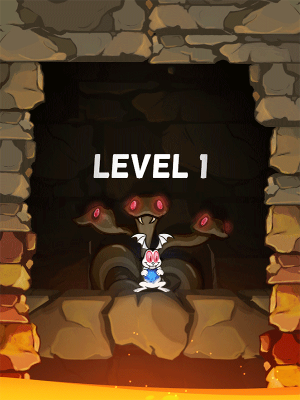 Bunnicula and the Cursed Diamond Game Level Start Screenshot.
