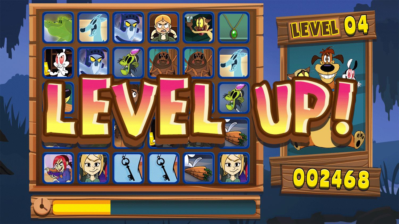 Bunnicula Monster Match Game Level Up Screenshot.