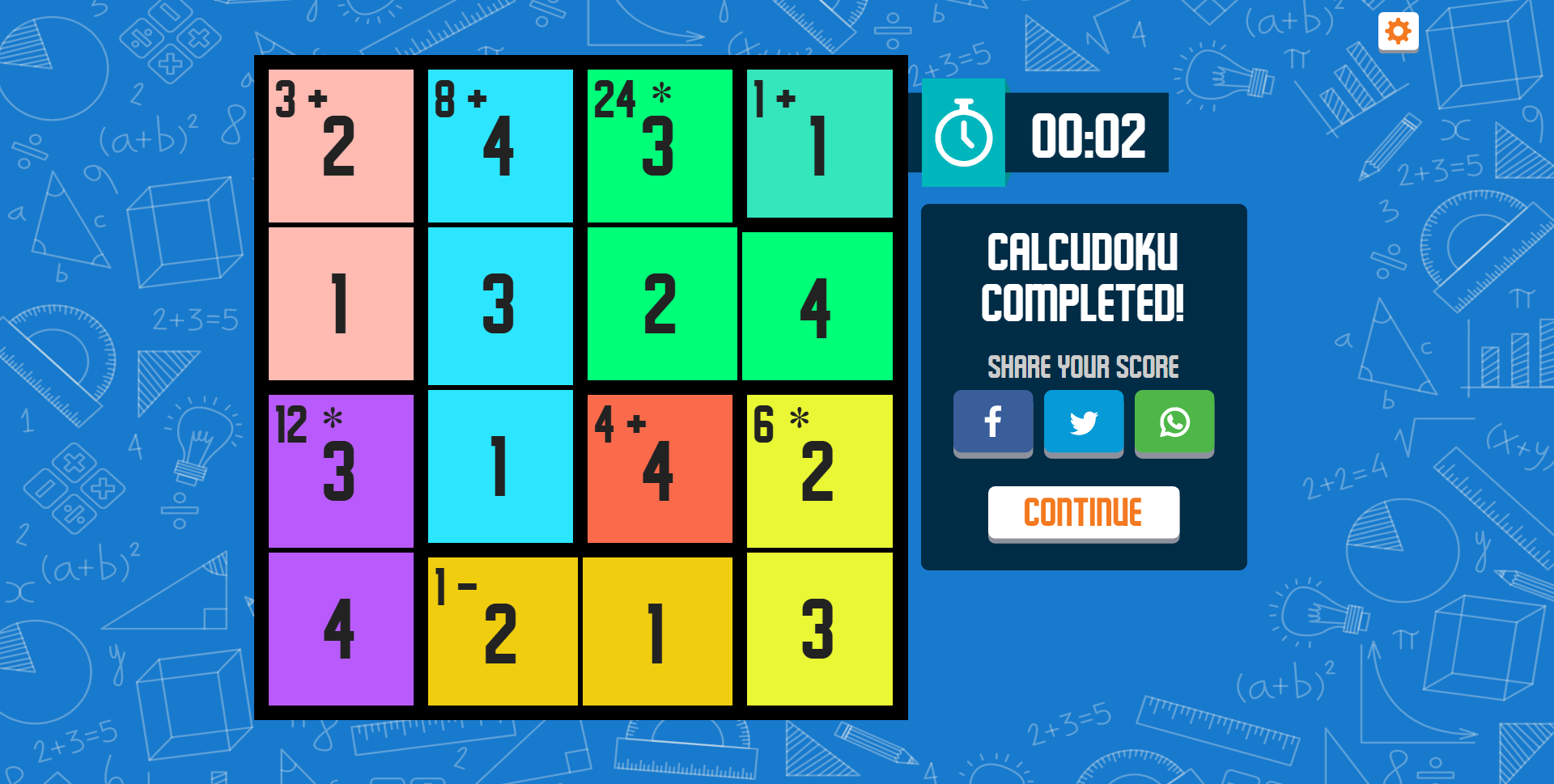 CalcuDoku Game Completed Screenshot.