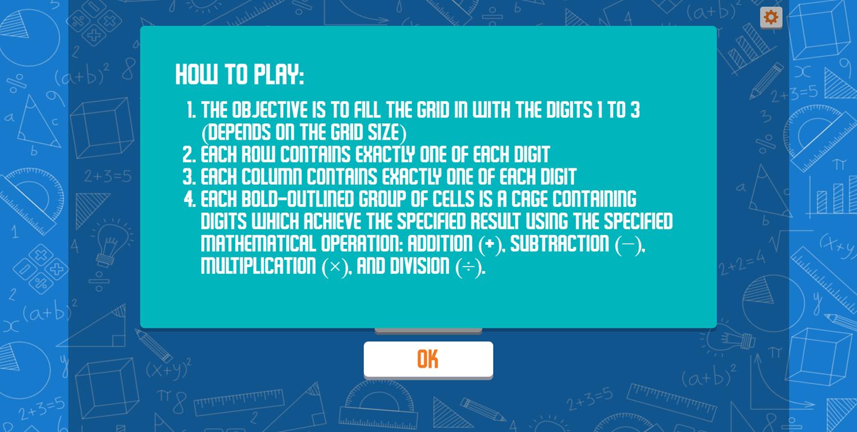 CalcuDoku Game How To Play Screenshot.