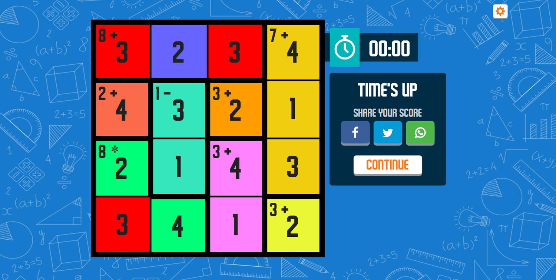CalcuDoku Game Times Up Screenshot.